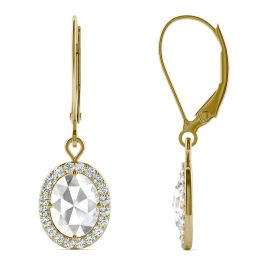 1.40 CTW DEW Oval Forever One Moissanite Halo Drop Earrings 14K Yellow Gold