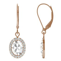 1.40 CTW DEW Oval Forever One Moissanite Halo Drop Earrings 14K Rose Gold