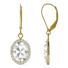 2.58 CTW DEW Oval Forever One Moissanite Halo Drop Earrings 14K Yellow Gold