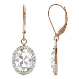 2.58 CTW DEW Oval Forever One Moissanite Halo Drop Earrings 14K Rose Gold