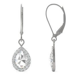 1.19 CTW DEW Pear Forever One Moissanite Halo Drop Earrings 14K White Gold