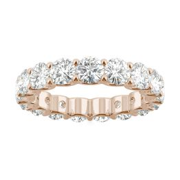 3.91 CTW DEW Round Forever One Moissanite Eternity Band 14K Rose Gold