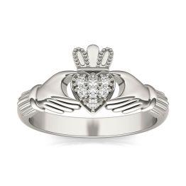 0.07 CTW DEW Round Forever One Moissanite Claddagh Ring 14K White Gold