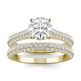 2.38 CTW DEW Round Forever One Moissanite Micro Pave Ring 14K Yellow Gold