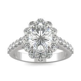 2.60 CTW DEW Oval Forever One Moissanite Cathedral Halo Engagement Ring 14K White Gold
