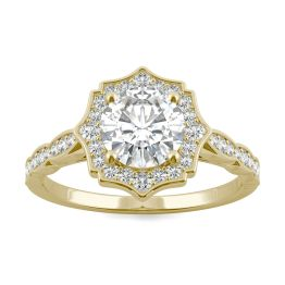 1.28 CTW DEW Round Forever One Moissanite Framed Halo Engagement Ring 14K Yellow Gold