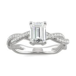 1.11 CTW DEW Emerald Forever One Moissanite Twist Side Stone Ring 14K White Gold