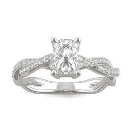 1.30 CTW DEW Radiant Forever One Moissanite Twist Side Stone Ring 14K White Gold
