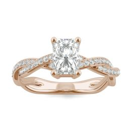1.30 CTW DEW Radiant Forever One Moissanite Twist Side Stone Ring 14K Rose Gold