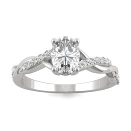 1.11 CTW DEW Oval Forever One Moissanite Twist Engagement Ring 14K White Gold