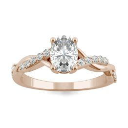 1.11 CTW DEW Oval Forever One Moissanite Twist Engagement Ring 14K Rose Gold