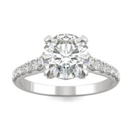 2.42 CTW DEW Round Forever One Moissanite Side-Stone Solitaire with Gallery Accents Engagement Ring Platinum