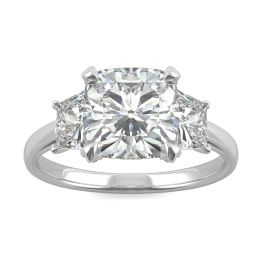 4.33 CTW DEW Cushion Forever One Moissanite Trapezoid Accent Three Stone Ring Platinum