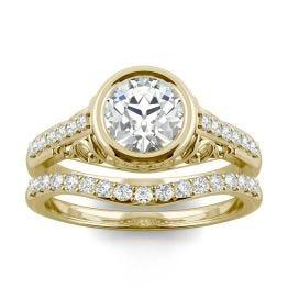 1.50 CTW DEW Round Forever One Moissanite Old European Cut Bezel Filigree Bridal Set Ring 14K Yellow Gold
