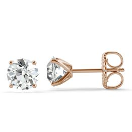 2.20 CTW DEW Round Forever One Moissanite Old European Cut Four Prong Martini Solitaire Stud Earrings 14K Rose Gold