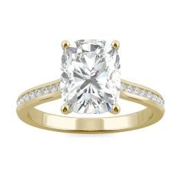 2.48 CTW DEW Elongated Cushion Forever One Moissanite Elongated Cushion Channel Set Engagement Ring 14K Yellow Gold