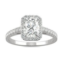 1.27 CTW DEW Elongated Cushion Forever One Moissanite Elongated Cushion Halo Engagement Ring 14K White Gold