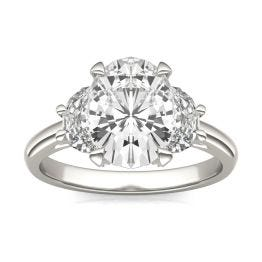 3.75 CTW DEW Oval Forever One Moissanite Half Moon Accented Engagement Ring Platinum