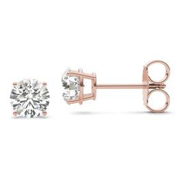 1 1/2 CTW Round Caydia Lab Grown Diamond Four Prong Solitaire Stud Earrings 18K Rose Gold