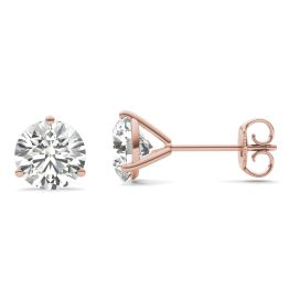2 CTW Round Caydia Lab Grown Diamond Three Prong Martini Solitaire Stud Earrings 18K Rose Gold