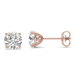 2 CTW Round Caydia Lab Grown Diamond Signature Basket Stud Earrings 18K Rose Gold