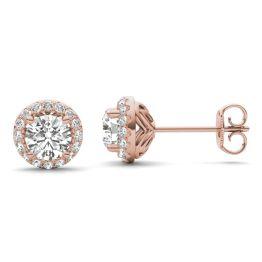 1 1/6 CTW Round Caydia Lab Grown Diamond Signature Halo Stud Earrings 18K Rose Gold
