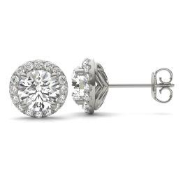 2 1/3 CTW Round Caydia Lab Grown Diamond Signature Halo Stud Earrings 18K White Gold