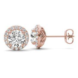 2 1/3 CTW Round Caydia Lab Grown Diamond Signature Halo Stud Earrings 18K Rose Gold