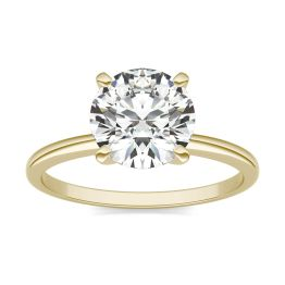 2 CTW Round Caydia Lab Grown Diamond Solitaire Engagement Ring 18K Yellow Gold, SIZE 7.0 Stone Color E