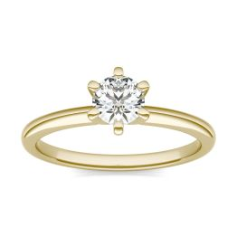 1/2 CTW Round Caydia Lab Grown Diamond Six Prong Solitaire Engagement Ring 14K Yellow Gold, SIZE 7.0 Stone Color E