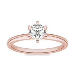 1/2 CTW Round Caydia Lab Grown Diamond Six Prong Solitaire Engagement Ring 14K Rose Gold, SIZE 7.0 Stone Color E