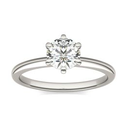 3/4 CTW Round Caydia Lab Grown Diamond Six Prong Solitaire Engagement Ring 18K White Gold, SIZE 7.0 Stone Color E