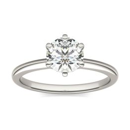 1 CTW Round Caydia Lab Grown Diamond Six Prong Solitaire Engagement Ring 18K White Gold, SIZE 7.0 Stone Color E