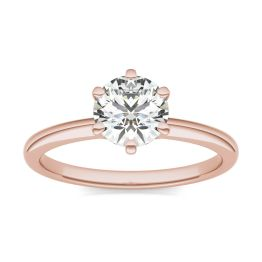 1 CTW Round Caydia Lab Grown Diamond Six Prong Solitaire Engagement Ring 14K Rose Gold, SIZE 7.0 Stone Color E