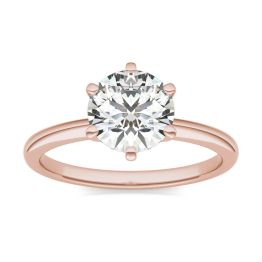 1 1/2 CTW Round Caydia Lab Grown Diamond Six Prong Solitaire Engagement Ring 18K Rose Gold, SIZE 7.0 Stone Color E