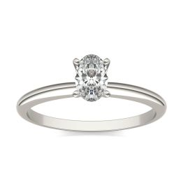 1/2 CTW Oval Caydia Lab Grown Diamond Solitaire Engagement Ring 14K White Gold, SIZE 7.0 Stone Color E
