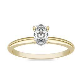 1/2 CTW Oval Caydia Lab Grown Diamond Solitaire Engagement Ring 14K Yellow Gold, SIZE 7.0 Stone Color E