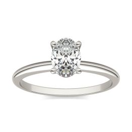 1 CTW Oval Caydia Lab Grown Diamond Solitaire Engagement Ring 14K White Gold, SIZE 7.0 Stone Color E