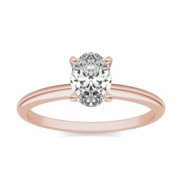 1 CTW Oval Caydia Lab Grown Diamond Solitaire Engagement Ring 14K Rose Gold, SIZE 7.0 Stone Color E