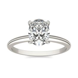 1 1/2 CTW Oval Caydia Lab Grown Diamond Solitaire Engagement Ring 14K White Gold, SIZE 7.0 Stone Color E