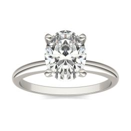 2 CTW Oval Caydia Lab Grown Diamond Solitaire Engagement Ring Platinum, SIZE 7.0 Stone Color E