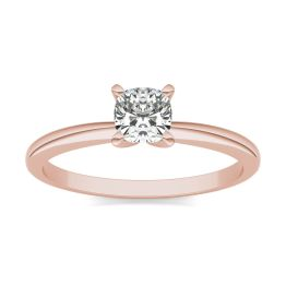1/2 CTW Cushion Caydia Lab Grown Diamond Solitaire Engagement Ring 14K Rose Gold, SIZE 7.0 Stone Color E