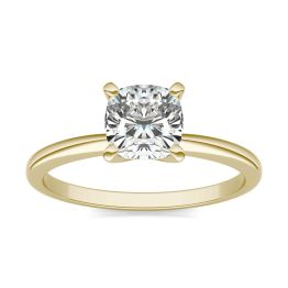 1 CTW Cushion Caydia Lab Grown Diamond Solitaire Engagement Ring 14K Yellow Gold, SIZE 7.0 Stone Color E