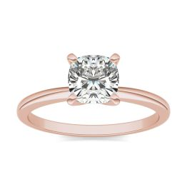 1 CTW Cushion Caydia Lab Grown Diamond Solitaire Engagement Ring 14K Rose Gold, SIZE 7.0 Stone Color E