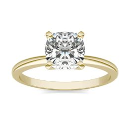1 1/2 CTW Cushion Caydia Lab Grown Diamond Solitaire Engagement Ring 14K Yellow Gold, SIZE 7.0 Stone Color E