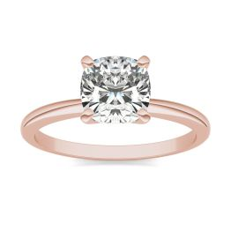 1 1/2 CTW Cushion Caydia Lab Grown Diamond Solitaire Engagement Ring 18K Rose Gold, SIZE 7.0 Stone Color E