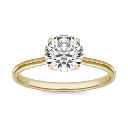 1 CTW Round Caydia Lab Grown Diamond Signature Four Prong Solitaire Engagement Ring 18K Yellow Gold, SIZE 7.0 Stone Color E