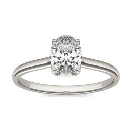 1 CTW Oval Caydia Lab Grown Diamond Signature Solitaire Engagement Ring 18K White Gold, SIZE 7.0 Stone Color E