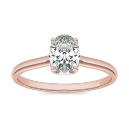 1 CTW Oval Caydia Lab Grown Diamond Signature Solitaire Engagement Ring 18K Rose Gold, SIZE 7.0 Stone Color E