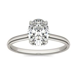 1 1/2 CTW Oval Caydia Lab Grown Diamond Signature Solitaire Engagement Ring Platinum, SIZE 7.0 Stone Color E